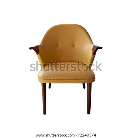 brown leather armchair isolated