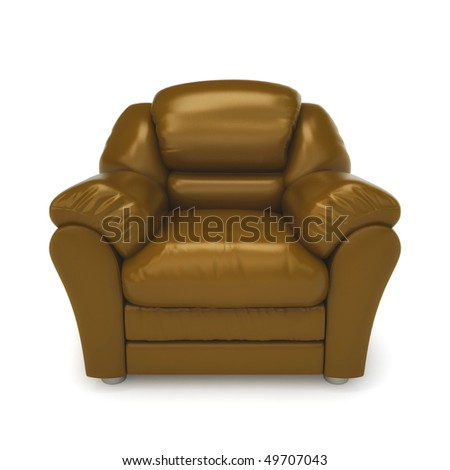 Brown leather armchair isolated on a white background