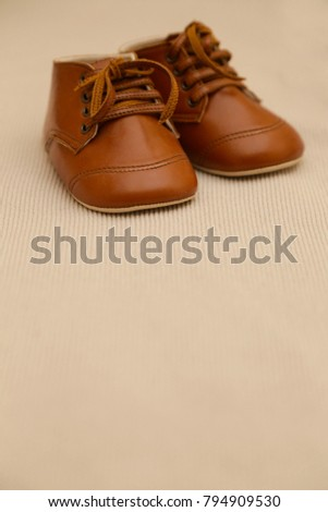 Brown leather baby shoes #794909530