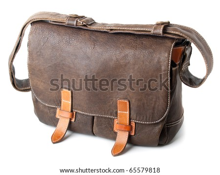brown leather bag isolated over white