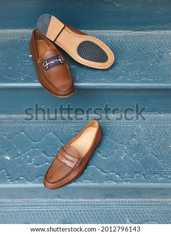 Brown leather bit loafers with a striped fabric on the vamp. Stock fotó ©