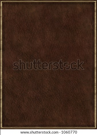 Brown leather book cover with golden frame