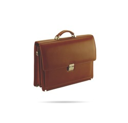 Brown leather briefcase isolated on white background. Large size leather bag.