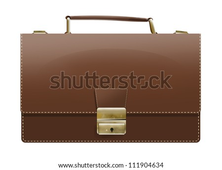 brown leather briefcase with clipping path