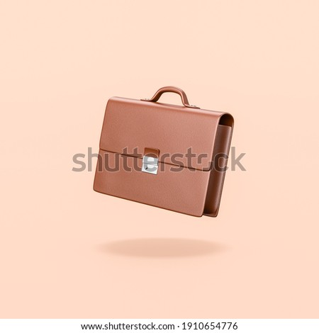 Brown Leather Businessman Briefcase on Flat Orange Background with Shadow 3D Illustration ストックフォト ©