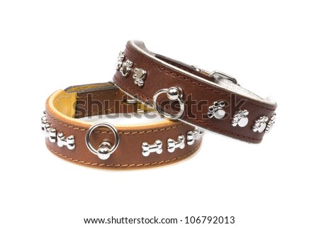 brown leather collars