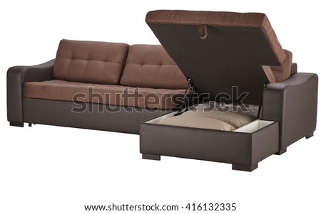 Brown leather corner couch bed with storage isolated on white include clipping path #416132335
