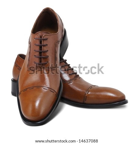 Brown leather executive shoes. Clipping path included.