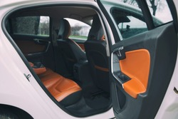 brown leather furnished luxury car interior