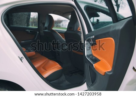 brown leather furnished luxury car interior #1427203958