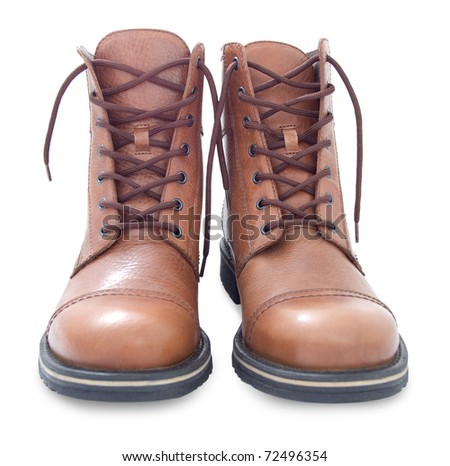 brown leather men's boots, over white background