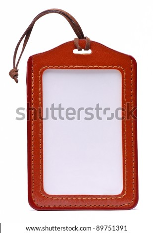 Brown Leather Name Tag
