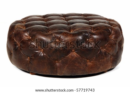 brown leather ottoman isolated at white background