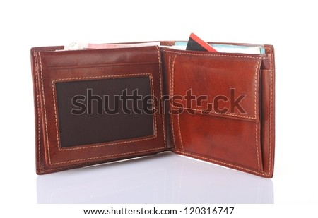 brown leather purse with money on white background