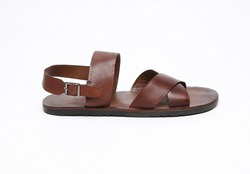 brown leather sandals isolated on white background