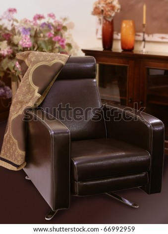brown leather sofa armchair classic style interior decoration