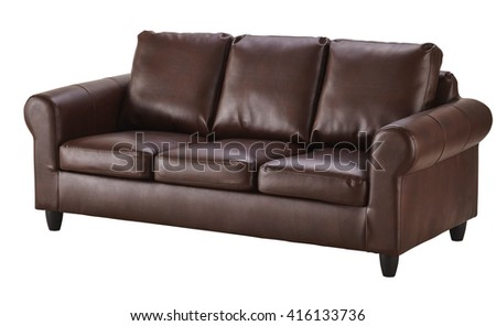 Brown leather sofa  isolated on white include clipping path #416133736