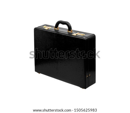Brown leather suitcase with combination lock and gold locks isolated on white background. Briefcase for important business documents and papers. Foto d'archivio ©
