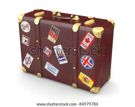 Brown leather suitcase with travel stickers. 3d - stock photo