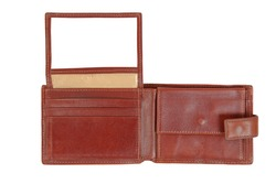 Brown leather wallet isolated on the white