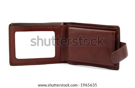 brown leather wallet with a blank space for credit card