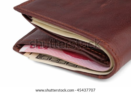 Brown leather wallet with dollar and yuan notes