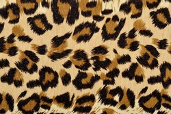 Brown leopard fur pattern. Spotted animal print as background.