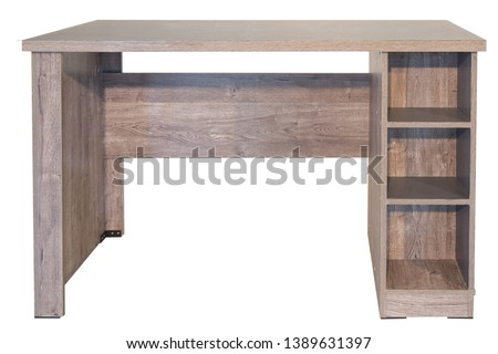 Brown, light brown wooden  table. Modern designer, dining table isolated on white background. Series of furniture. #1389631397