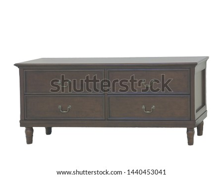 Brown, light brown wooden  table. Modern designer, dining table isolated on white background. Series of furniture. #1440453041