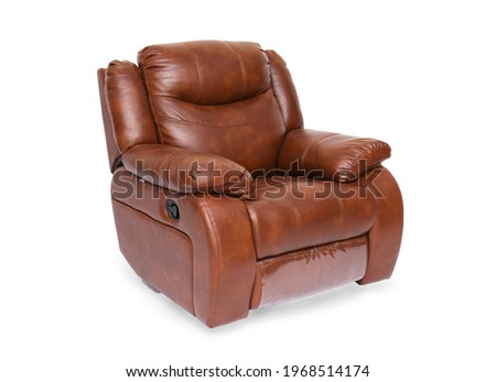 Brown luxury leather recliner sofa in isolate white background ストックフォト ©