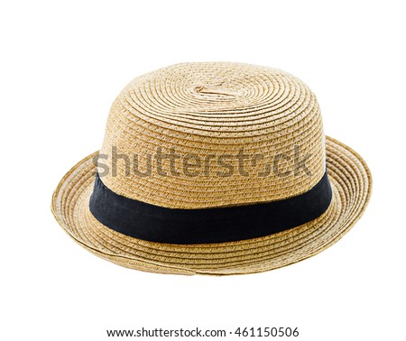 Brown man hat isolated on white background, saved clipping path. #461150506