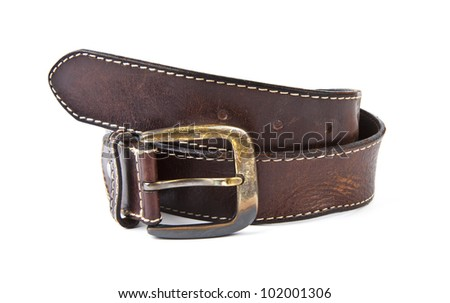 Brown men's belt with bronze clasp on white background
