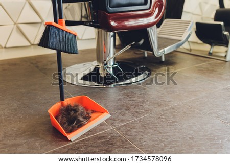 Brown men's hair with gray hair. Cropped cut locks is on light ceramic floor.Filament care concept.Selective focus.Close up. Stock fotó ©