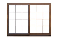 Brown metal window frame isolated on white background