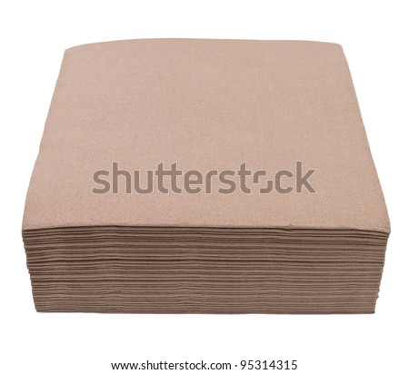 Brown napkins isolated on white background
