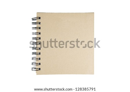 brown note book on white background