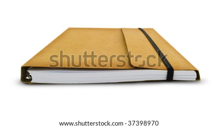 Brown Notebook Isolated on white, Clipping path included.