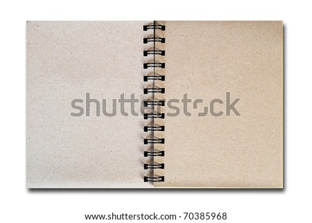 brown notebook recycle paper open two page with copy space area for multipurpose isolated on white background