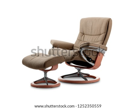 brown office chair with foot rest  #1252350559