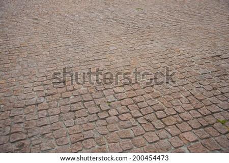 Brown old cobblestones on walkway perspective background #200454473