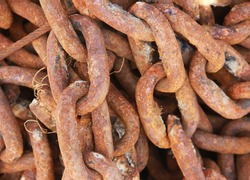 brown old rusty metal chain links