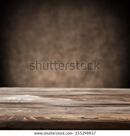 brown old wall background and desk