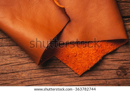 Brown, Orange Tan Leather, Concept and Idea Style of Fine Leather Crafting, Handcrafts, Handmade, handcrafted, leather worker. Background Textured and Wallpaper. Rustic Style.