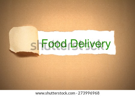 brown package paper carton torn to reveal white space food delivery