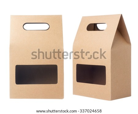 Brown packaging paper bag isolated on white #337024658