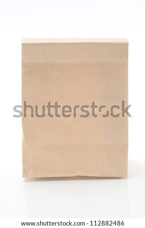 Brown paper bag from a white background.