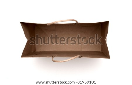 brown paper bag isolated on a white background.