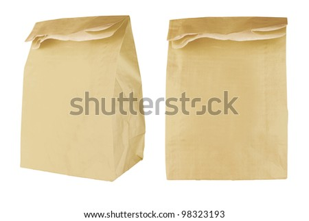 Brown paper bag isolated on white