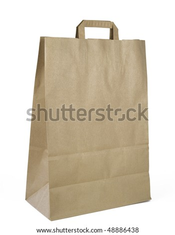 brown paper bag, isolated on white background,free copy space