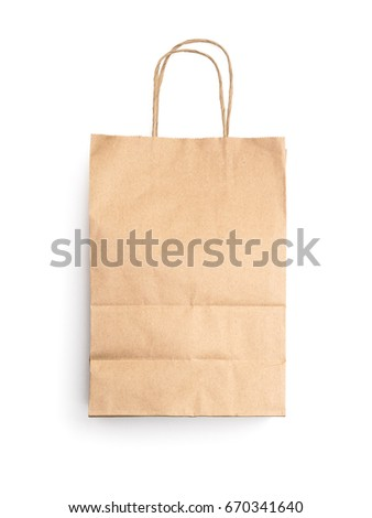 Brown paper bag. Packaging object for advertising background.
